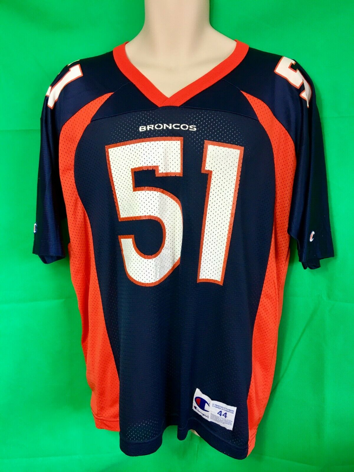 NFL Denver Broncos JOHN MOBLEY #51 Champion Vintage Jersey Men's US Large 44
